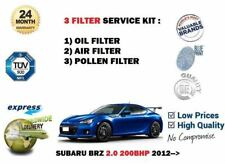 FOR SUBARU BRZ 2.0 200BHP 2012-> NEW OIL AIR POLLEN 3 FILTER SERVICE KIT