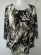 **STUNNING** BLACK WHITE LADIES WOMENS M&Co TOP BLOUSE SIZE 12 (0.14)