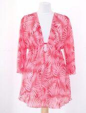 Women's Pink Palm Leaf Kaftan Beach Cover Up Tunic w/Ties UK Size 16
