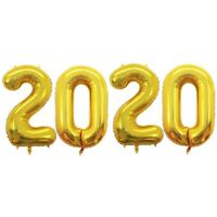 32 Inch 2020 Gold Foil Number Balloons for 2020 New Year Eve Festival Party B8U6