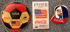 1998 World Cup Soccer Pins~Lot of 3~Football~United States~Footix~Coca Cola