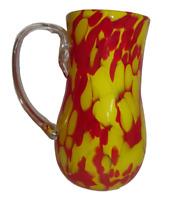 "Signed Amanda Morris 2005 Yellow Red Hand Blown Glass Art Pitcher Vase 7 1/2"""