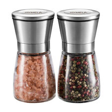 2PCS Salt and Pepper Grinder Set Stainless Steel Glass Shaker Adjustable Mill
