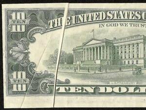 1977 $10 DOLLAR MULTIPLE FOLD PRINTING ERROR FEDERAL RESERVE NOTE PAPER MONEY AU