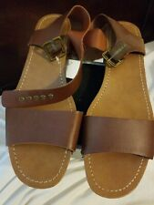 WOMEN'S SHOES AMERICAN EAGLE SAINT NEW HIGH HEEL WEDGE SANDALS SIZE 11 BROWN