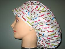 Surgical Scrub Hats/Caps Dachshunds in sweaters with Snowflakes