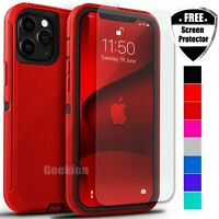 For Apple iPhone 12 Mini 11 Pro Max Shockproof Rugged Case + Screen Protector