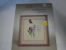 1986 Iris Flower from Original Watercolors Cross Stitch Pattern Book Janet Power