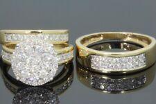 Diamond Wedding 14k Yellow Gold Fn Trio Mens & Womens Bridal Engagement Ring Set
