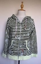 Roxy Women's Fullzip Hoody Sz 12 Black Stripe Splatter Embroidered Cotton NEW