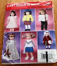 "McCalls Pattern #9032 Doll Clothing 18"" Dolls - Uncut - Coat, hat, dress, more"