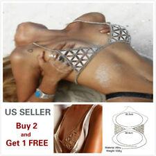 Women Full Metal Body Chain Chest Crystal Rhinestone Harness Bra Bikini Style H