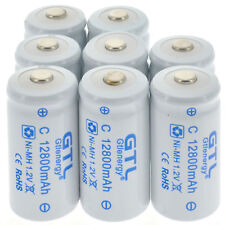 8pcs C size Rechargeable Batteries 1.2V 12800mAh Ni-MH Rechargeable Battery USA