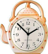 """236118F Keramik """"Teekannen Uhr"""" orange getüpfelt & Zierung  handbemalt Funkuhr"""