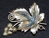 Sterling silver vintage Art Deco antique grape bunch brooch