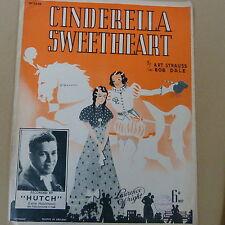"""songsheet CINDERELLA SWEETHEART """"Hutch"""" 1938"""