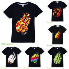 Boys Girls PRESTONPLAYZ Pizza Flame Kids Short Sleeve T-Shirt Tops 100% Cotton