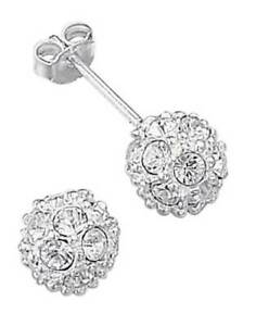 Essentials NEW! Sterling Silver Crystal Ball Stud Earrings