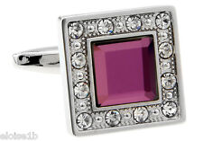 PERFECT SILVER & PURPLE RED GEM SQUARE JEWEL CUFFLINKS & VELVET POUCH uk seller