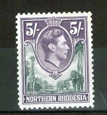NORTHERN RHODESIA George VI 5/- SG43 Light fresh MINT