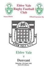 Ebbw vale V dunvant 11 APR 1992 RUGBY programma