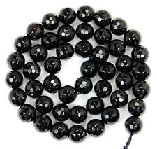 """Natural 6mm Faceted Black Agate Round Loose Beads 15"""""""