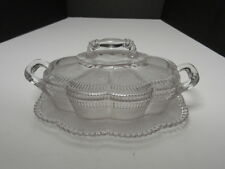 """Bryce Brothers Lorne Covered Butter Attacher Liner Clear EAPG 7 1/2"""" L ca 1880's"""