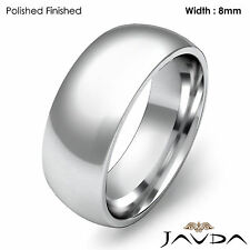 Comfort Men Wedding Band High Polish Dome Plain Ring 8mm Platinum 21.1g 12-12.75