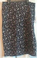 Lularoe Cassie Skirt Large Black with blue red flower design NWT Free Shipping