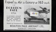 BOULTON PAUL AIRCRAFT LTD  P71A TRAVEL BY AIR IN LUXURY AT 165 MPH 1935 AD