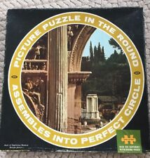 """Vtg 19"""" round PAN AM airline Jaymar ITALY Roman Forum Jigsaw puzzle AS-IS 650 Pc"""