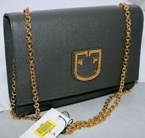 New FURLA VIVA Gold Chain Purse Crossbody Shoulder Leather Dark Grey
