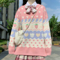 Kawaii Lady Sweater Jumper Pullover Cute Strawberry Loose Knitted Top Pink Sweet