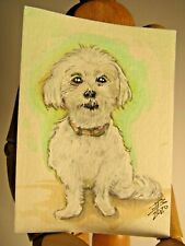 Bichon Original Watercolor Painting ACEO Card  Poodle Dog Art