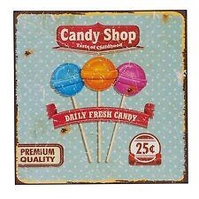 Shabby Holzbild Wandbild Candy Shop 3 Lutscher 25x25cm Holz Retro Antiklook NEU