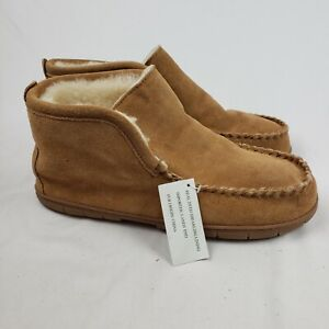 Lands End Mens Suede Leather Shearling Bootie Slippers Brown NWT