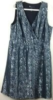 Lane Bryant Plus Size 18 Black & Gray Dress Floral Lined Sleeveless V Neck