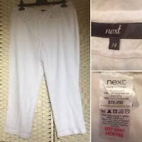 Ladies Women's Next White Linen 3/4 Length Crop Trousers  Size 14 Back  Pockets