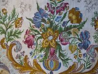 """Two VTG 50s barkcloth floral fabric drapery curtain panels 44""""x64"""""""