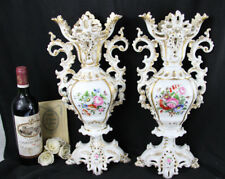 LARGE PAIR VIEUX PARIS  porcelain 1900 French antique VASES floral decor