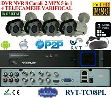 KIT DVR  8 CANALI E 4 TELECAMERE VARIFOCALI 30 FPS 2 MPX PROFESSIONALI IP 66