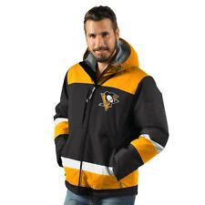 Pittsburgh Penguins Power Play Hooded Parka Jacket - Black By G-III