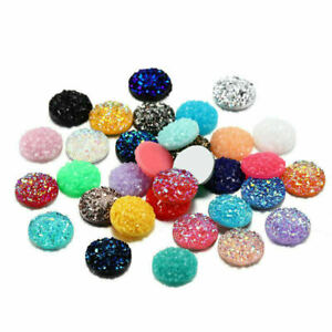 Crystal AB 12mm 30Pcs Flat Back Resin Dotted Round Rhinestone For DIY Decoration