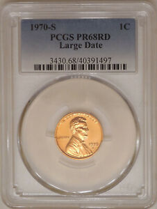1970-S large date PCGS PR 68 RD proof Lincoln cent No toning