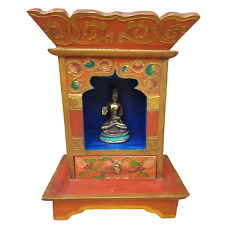 Nepalese Wooden Altar Table and Shrine with Drawer - Hand Painted