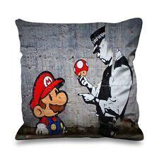 Banksy mario et cuivre en soie synthétique 45cm x 45cm canapé coussin