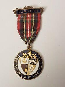 Vintage Masonic Jewel Jubilee Medal~Lodge Battlefield 1258~Very Good Condition