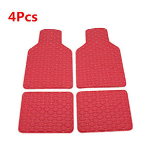 PU Leather Car Floor Mats Carpet Front Rear Liner Protector Pad Red Waterproof