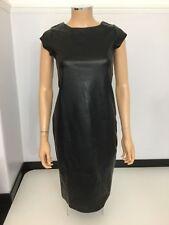Negro Imitación Cuero Vestido Talla 40 Reino Unido 12 para Mujer