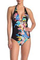 Laundry By Shelli Segal Rainflorist Plunge One-Piece Swimsuit Black Print M Medi